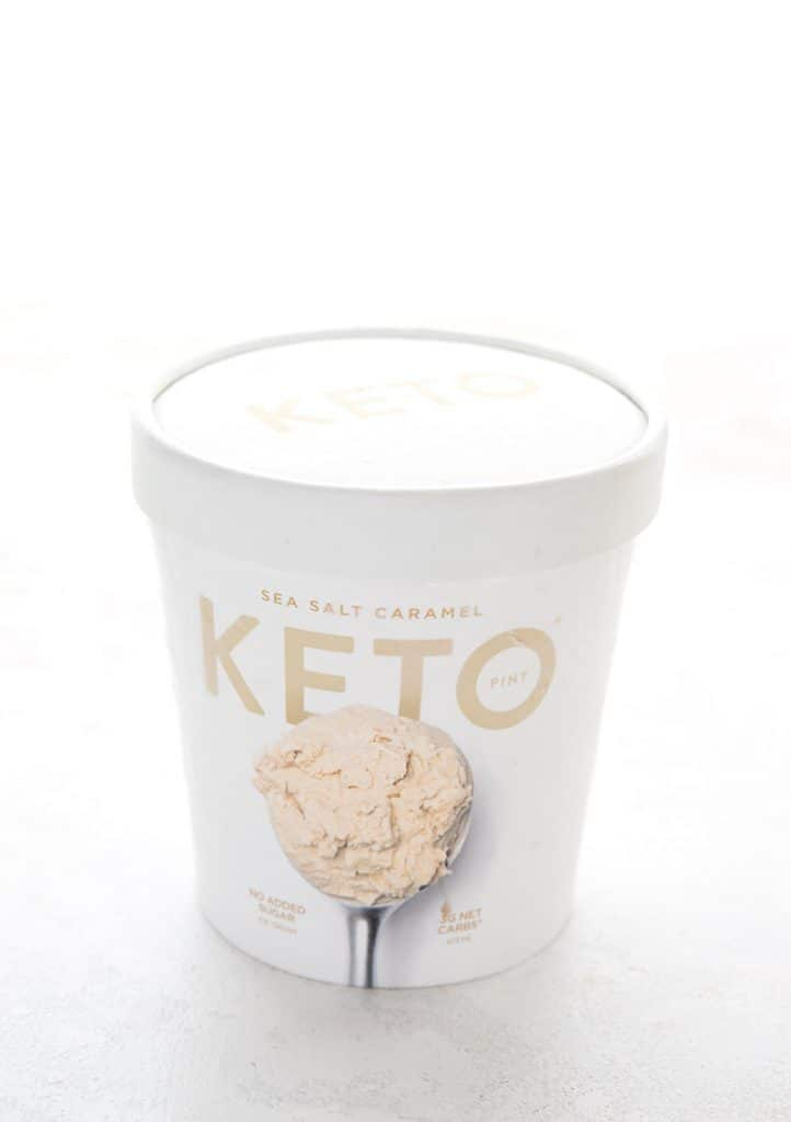 A pint of Keto Pint Sea Salt Caramel Ice Cream