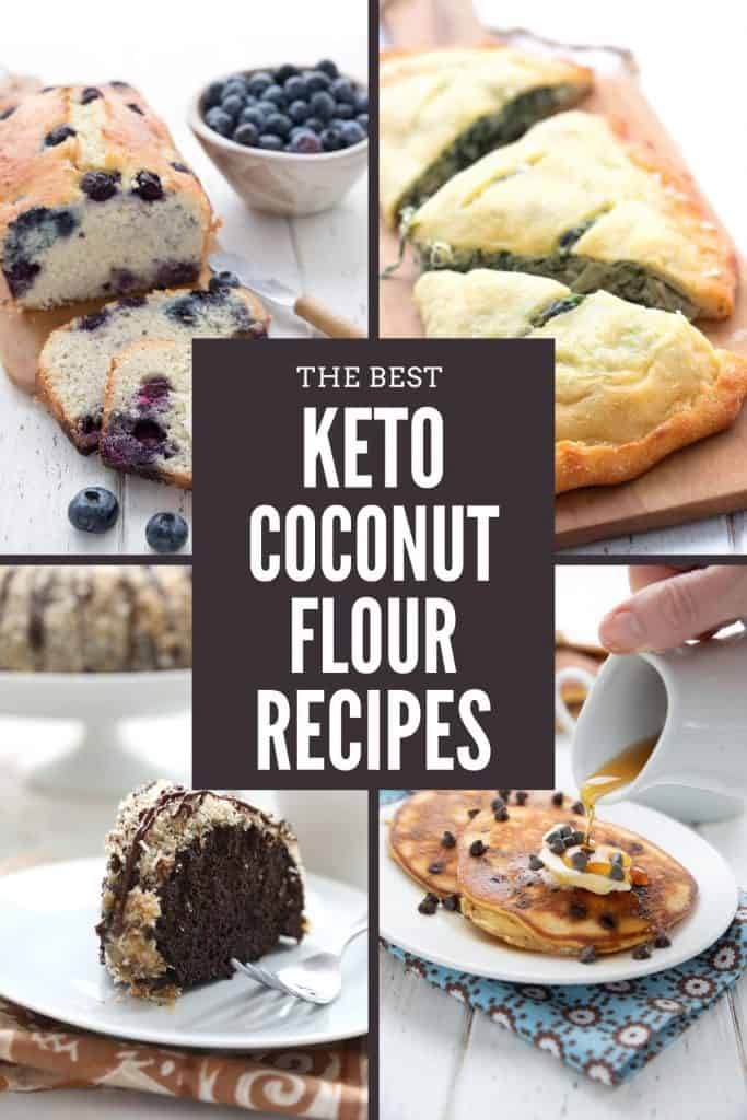 A collage of four coconut flour recipes with the title in the center.