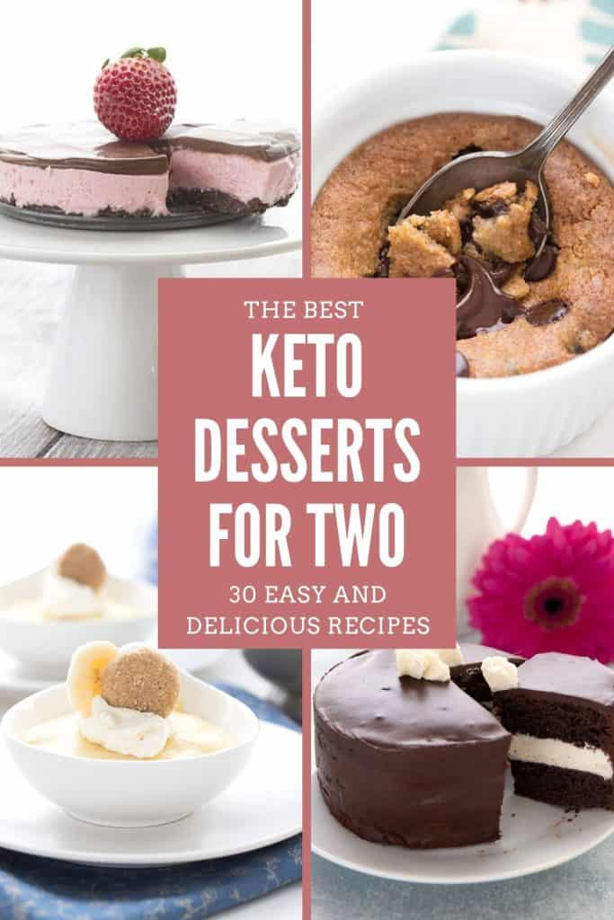 A collage of 4 easy keto desserts for two with the title in the center.