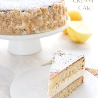 Titled image of keto lemon cream cake with a slice sitting in front of the main cake.