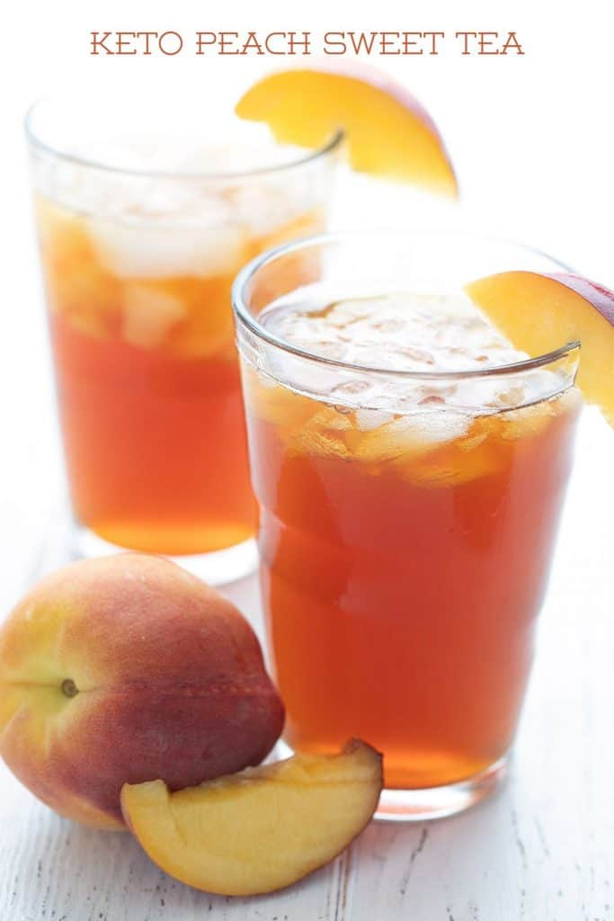 Titled image of two glasses of keto peach sweet tea