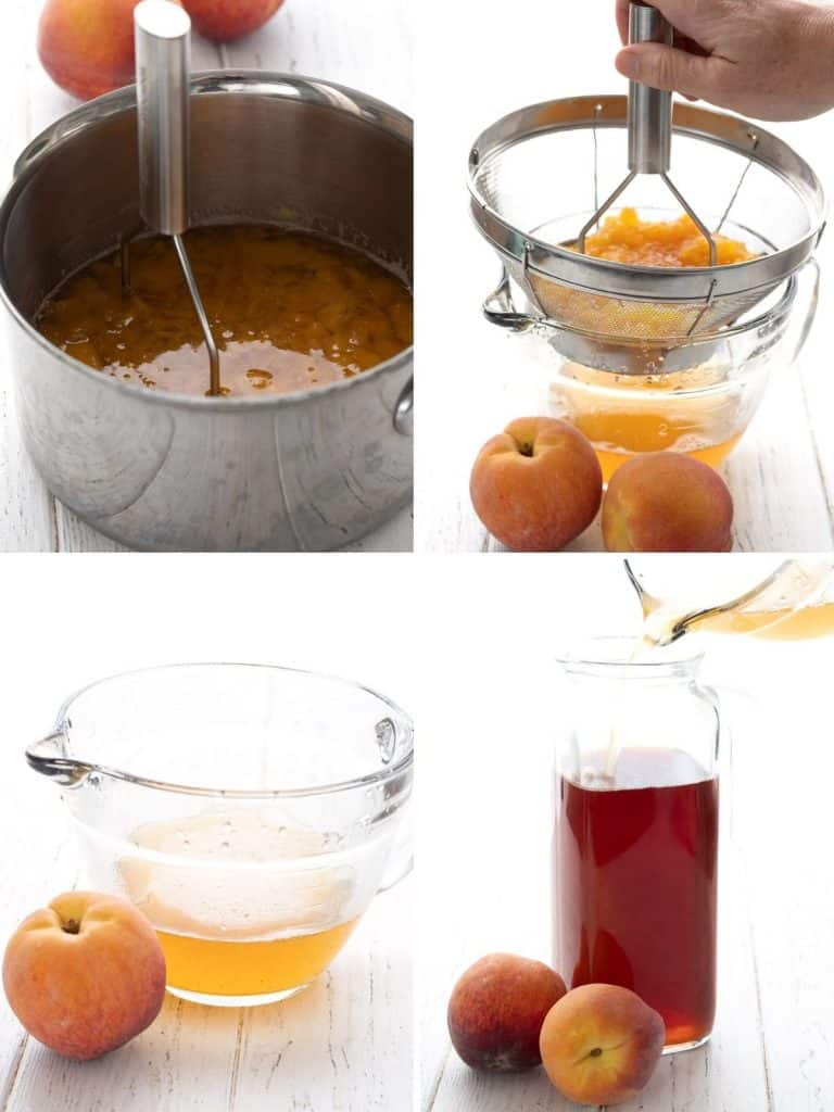 A collage of four images showing how to make peach-flavoured Keto sweet tea.