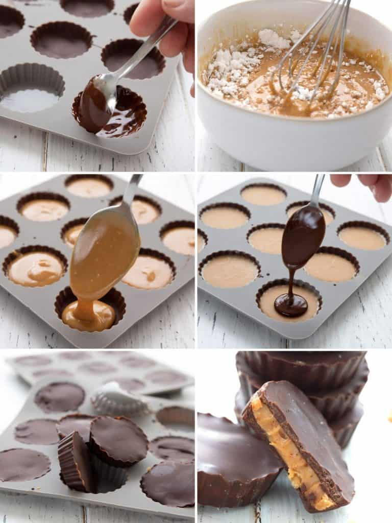 A collage of photos showing the steps for making keto peanut butter cups.