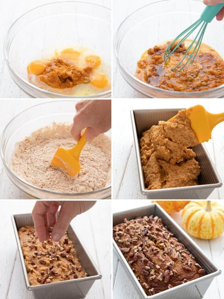 A collage of 6 photos showing the steps for making keto pumpkin bread.