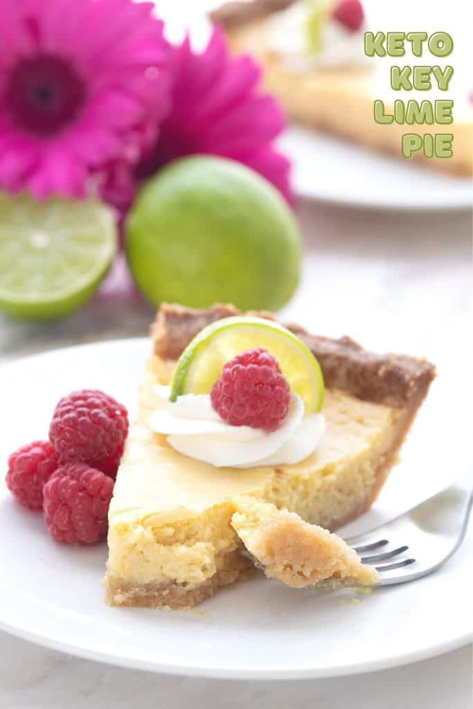 Titled image of a slice of keto key lime pie on a white plate with a forkful taken out of it.