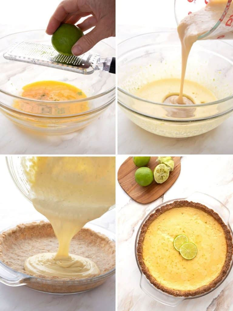 A collage of 4 photos showing the steps for making keto key lime pie.