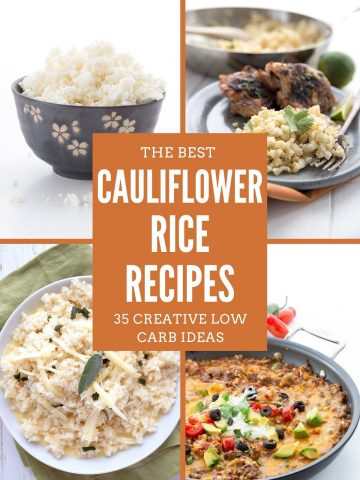 A collage of four photos showing different keto cauliflower rice recipes.