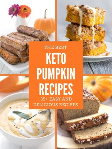 4 photo collage of keto pumpkin recipes with the title in the center.