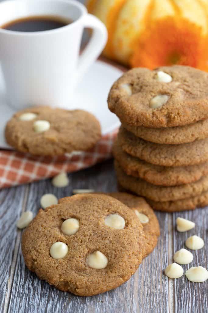 Close up shot of keto pumpkin white chocolate chip cookies.