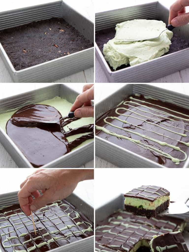 A collage of 6 photos showing how to make keto mint chocolate bars.