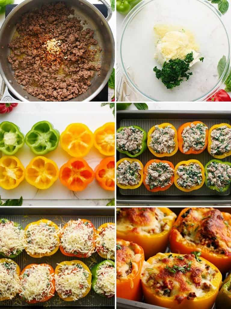 A collage of photos showing the steps for making keto stuffed peppers.