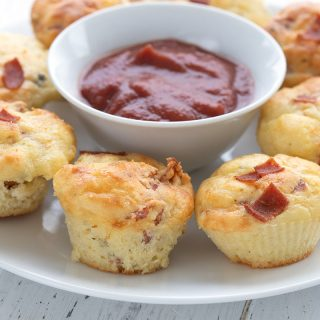Close up shot of mini keto pizza muffins.