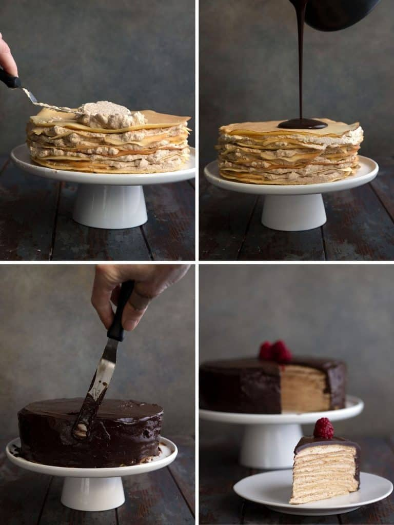 A collage of photos showing how to make keto crepe cake.