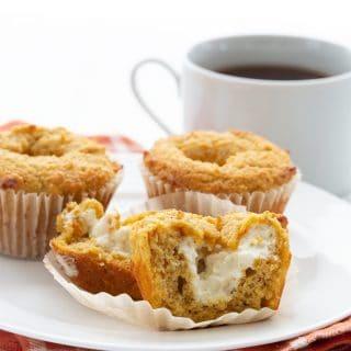 Keto pumpkin muffins on a white plate with a cup of coffee in the background.